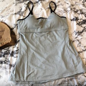 Athleta Grey Mesh Tank with Black Strappy Back L